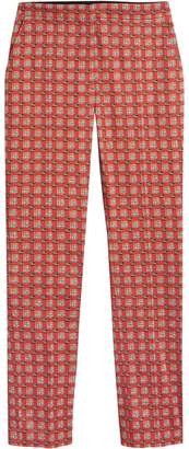 Burberry Equestrian Check Print Stretch Cotton Cigarette Trousers