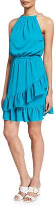 MICHAEL Michael Kors Ruffle-Wrapped Chain-Strap Halter Dress