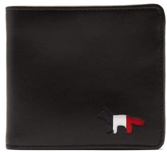 MAISON KITSUNÉ Tricolour Fox Bi Fold Leather Wallet - Mens - Black