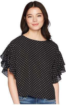 Vince Camuto Specialty Size Petite Tiered Ruffle Sleeve Poetic Dots Blouse Women's Blouse