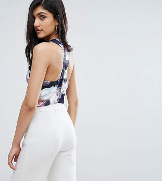 Y.A.S Tall Y.A.S Studio Tall Aliana Strappy Back Crop Top In Floral Print