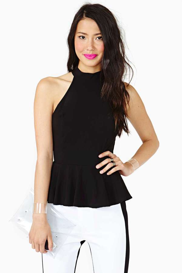 Nasty Gal High Places Peplum Top - Black