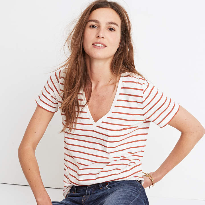 Whisper Cotton V-Neck Pocket Tee in Abilene Stripe