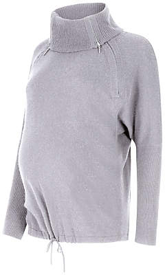 Séraphine Eda Roll Neck Maternity Jumper, Marble Grey