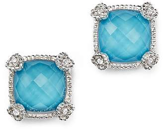 Judith Ripka Cushion Stud Earrings with White Sapphire and Turquoise Doublets