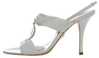 Emilio Pucci Satin Abstract Print Sandals