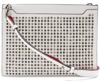 Christian Louboutin - Skypouch Spike Embellished Leather Clutch - Mens - White
