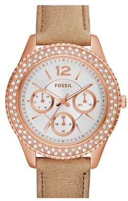 Women's Fossil 'Stella' Crystal Bezel Leather Strap Watch, 38Mm $135 thestylecure.com