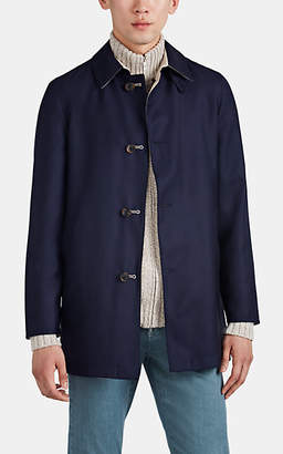 Barneys New York Men's Lotus Reversible Cashmere-Silk Raincoat - Navy