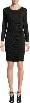 Neiman Marcus Ruched Long-Sleeve Sheath Dress