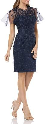 Carmen Marc Valvo Infusion Floral Embellished Dress