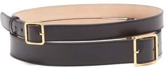 Alexander McQueen Double Buckle Leather Belt - Womens - Black