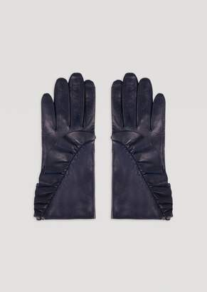 Emporio Armani Leather Gloves With Side Ruffles