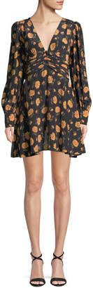 Veronica Beard Marion Long-Sleeve Floral Mini Dress