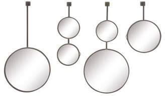 DecMode Decmode Modern 18, 23, 32, And 32 Inch Metal And Wood Round Hanging Wall Mirrors, Black - Set of 4