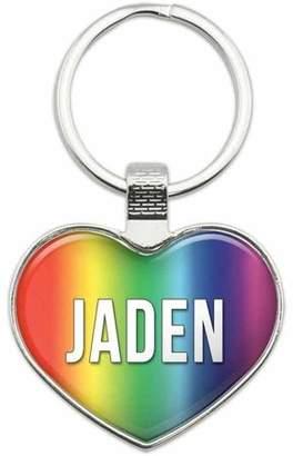 Generic Jaden - Names Male Metal Heart Keychain Key Chain Ring, Rainbow