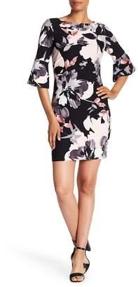 Vince Camuto 3/4 Sleeve Floral Print Scuba Dress