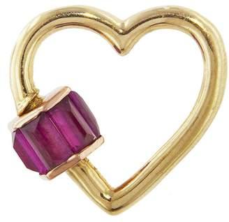Marla Aaron Regular Total Baguette Ruby Heart Lock - Yellow Gold
