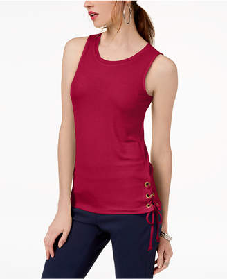 INC International Concepts I.n.c. Petite Lace-Up Tank Top, Created for Macy's