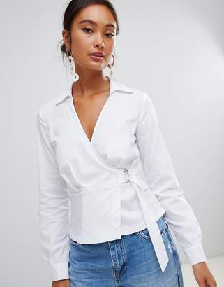 Miss Selfridge wrap front shirt with d-ring detail in white