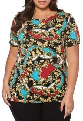 Rafaella Plus Printed Short Sleeve Top