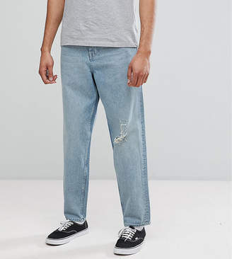 Asos DESIGN TALL Skater Jeans In Vintage Light Wash Blue