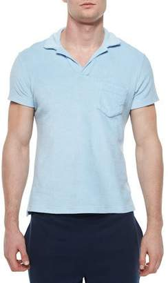Orlebar Brown Terry Polo Shirt, Sky Blue