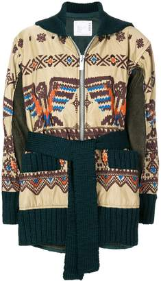 Sacai embroidered zipped coat