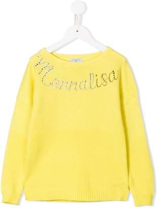 MonnaLisa rhinestone logo sweater