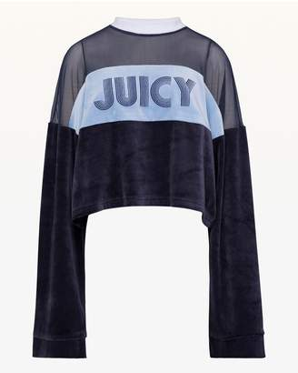 Juicy Couture Lightweight Velour & Mesh Crop Pullover