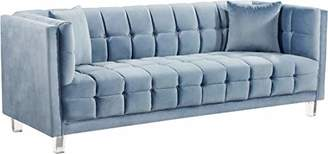 Meridian Furniture 629SkyBlu-S Mariel Collection Modern | Contemporary Velvet Upholstered Sofa with Luxurious Deep Tufting and Acrylic Legs