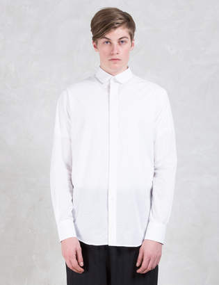 Munsoo Kwon Hole Punch Round Collar Hidden Placket Shirt