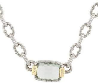Judith Ripka Prasiolite & Diamond Pendant Necklace