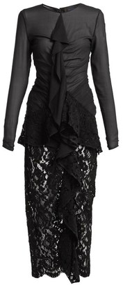 Proenza Schouler Ruffle Front Lace Dress - Womens - Black