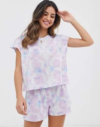 8583b1bec0821 Asos Design DESIGN tie dye pyjama short set
