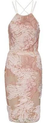 Marchesa Tie-Back Chiffon-Appliquéd Embroidered Tulle Dress