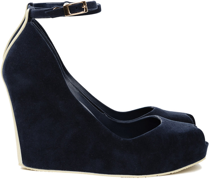 Melissa Patchuli Wedge Blue Flocked/Green