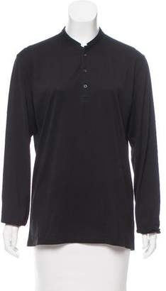The Kooples Leather-Trimmed Long Sleeve Top