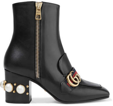 Gucci - Marmont Embellished Leather Ankle Boots - Black