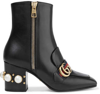 Gucci Marmont Logo And Faux Pearl-embellished Leather Ankle Boots