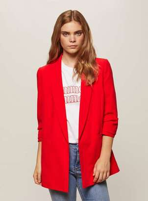 Miss Selfridge Red ruched sleeve blazer