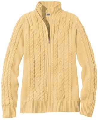 L.L. Bean L.L.Bean Women's Double LA Mixed-Cable Sweater, Zip-Front Cardigan