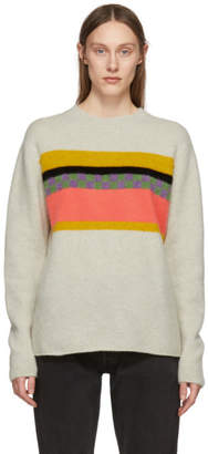 The Elder Statesman Beige Cashmere Gofa Stripe Sweater