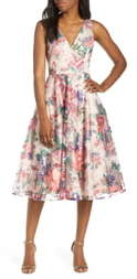 Eliza J Sleeveless Floral Fit & Flare Dress