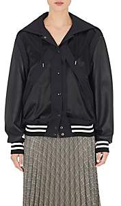 Maison Margiela WOMEN'S FAUX-LEATHER-SLEEVE VARSITY JACKET - NAVY SIZE 38