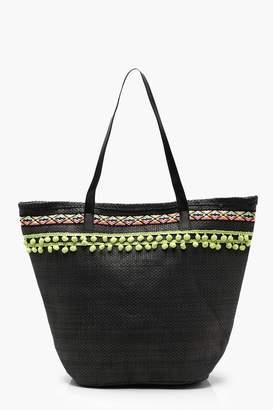 boohoo Pom Pom Trim Straw Beach Bag