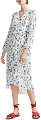 Maje Rasiona Pleated Floral-Print Midi Dress