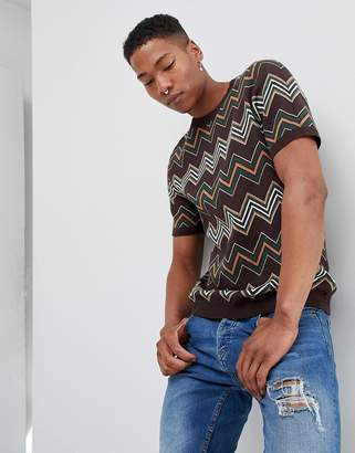 Asos DESIGN Knitted T-Shirt In Brown With Chevron Stripes