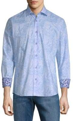 Paisley Cotton Button-Down Shirt