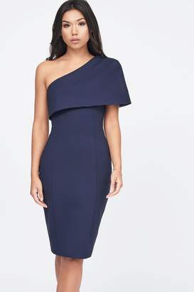 Lavish Alice Womens One Shoulder Cape Midi Dress - Blue